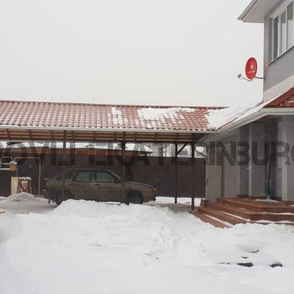 Сборка гаражного навеса с покрытием металлочерепицей, КП Алые паруса